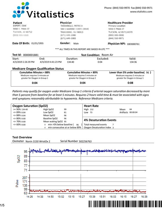 Overnight Home Pulse Oximetry Test Report Sample - Vitalistics